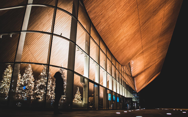 Nattbilde av Kilden i Kristiansand
