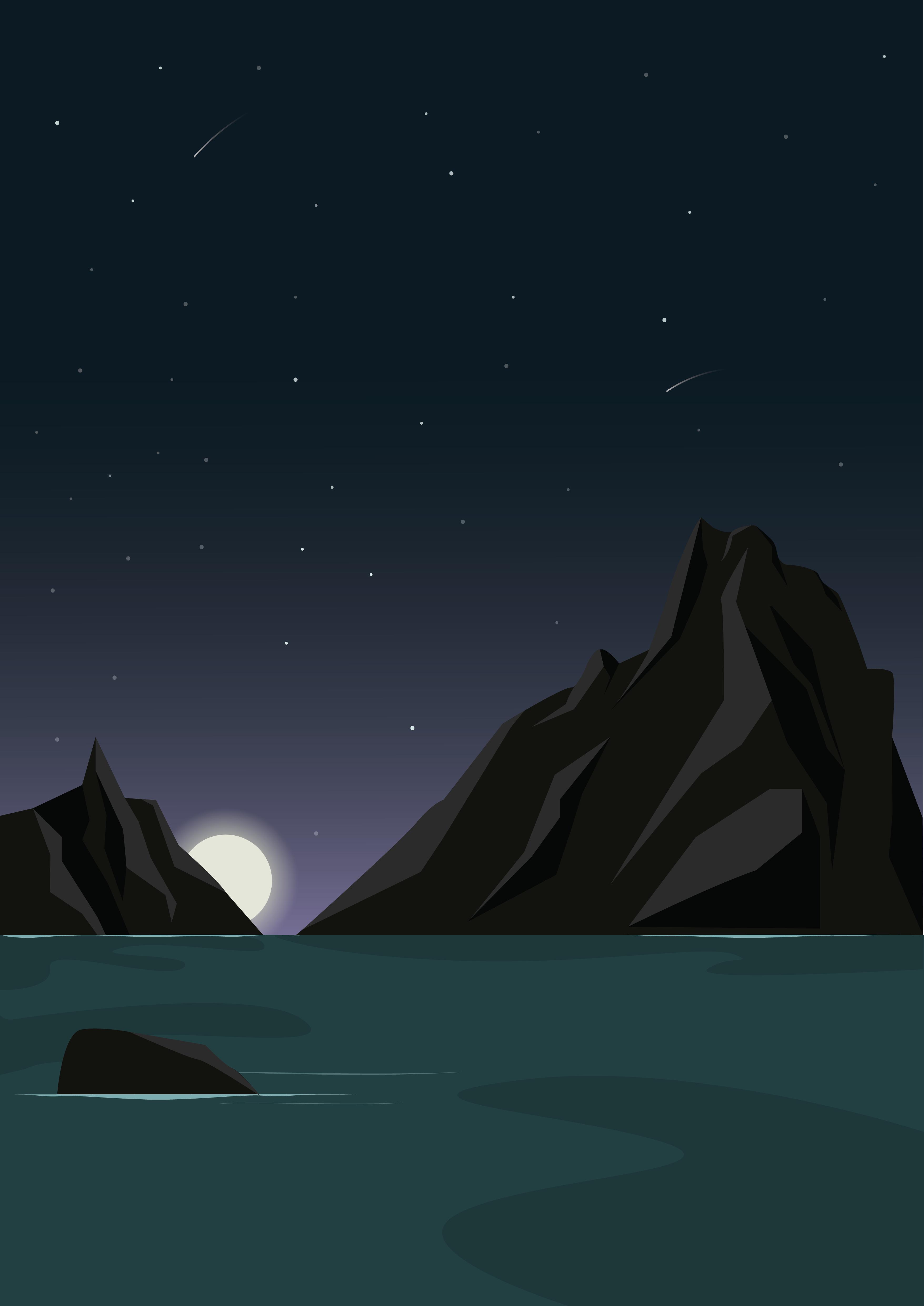 Digital tegning av fjell med nattehimmel. Havet i forgrunnen.