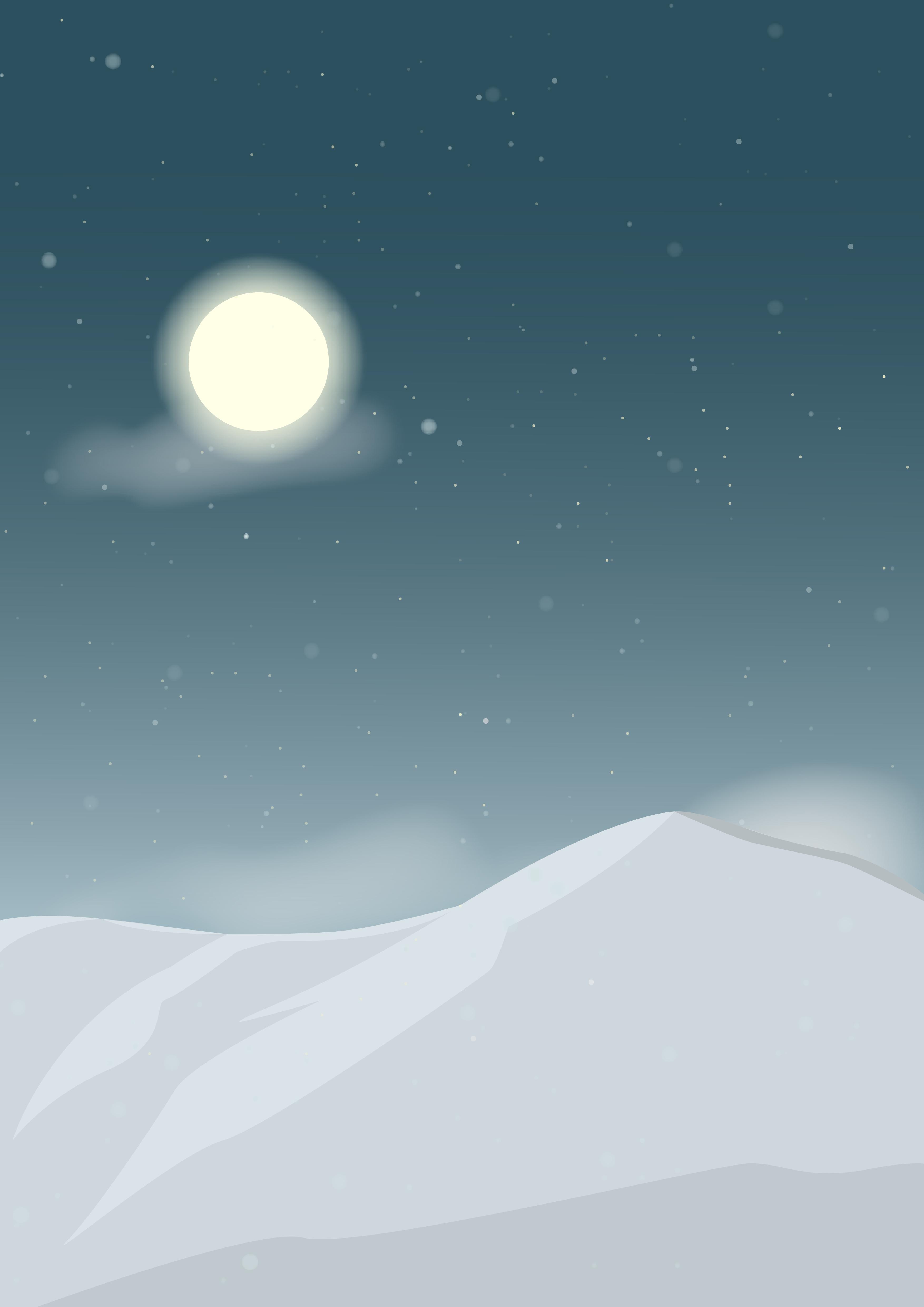 Digital tegning av snødekte fjell på kvelden