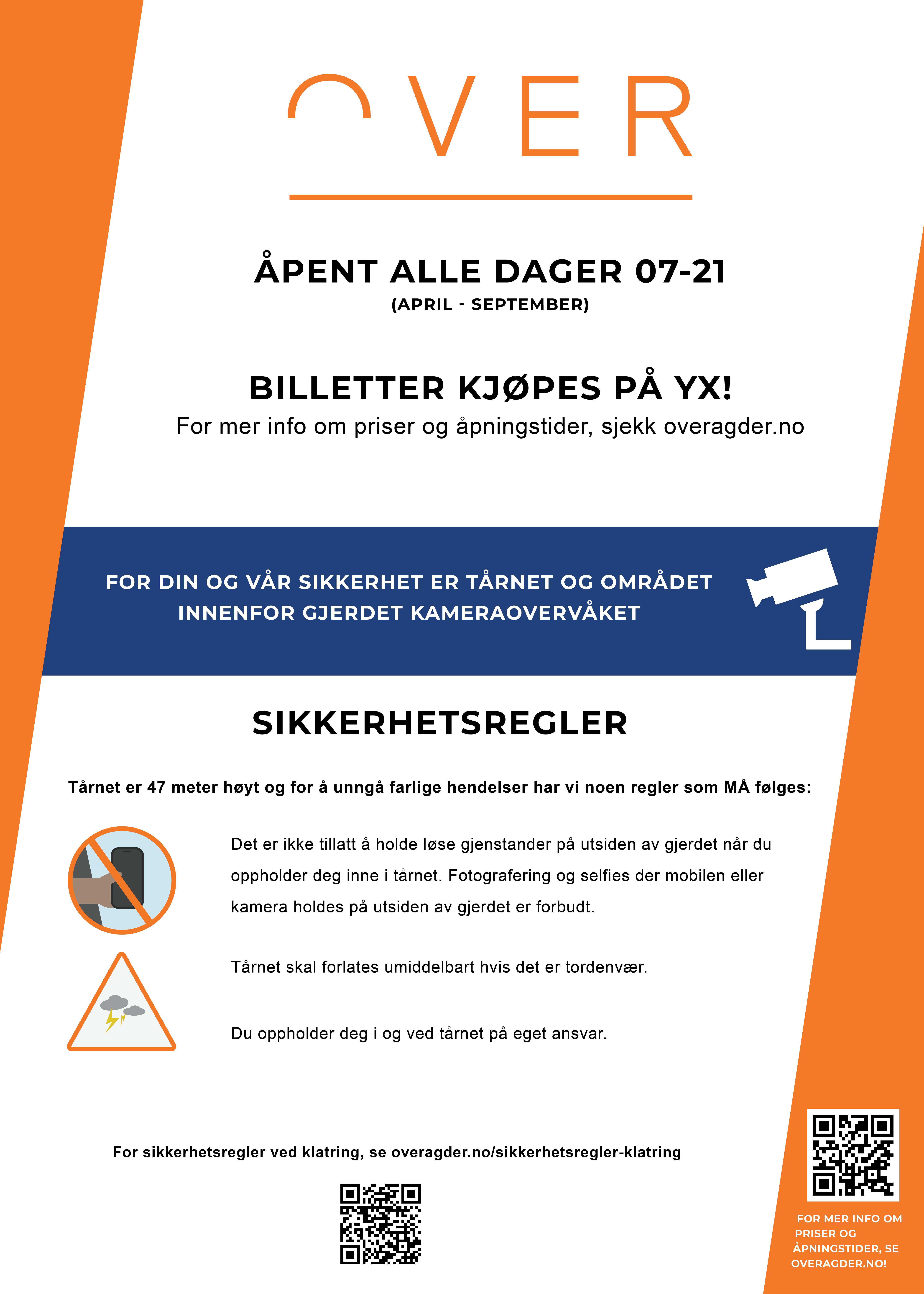 Plakat: Åpningstider og sikkerhetsregler i tårnet